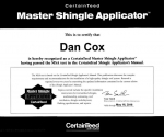 Certainteed Master Shingle Applicator Certificate