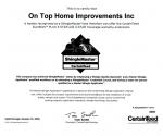 Certainteed Shinglemaster Certificate